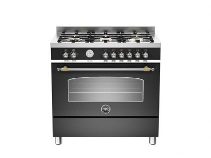 90cm Bertazzoni Heritage 6 burners and 1 electric oven in Matt Black HER90-6-MFE-S-NET